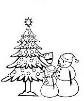 kleurplaat kerstboom en sneeuwpoppen